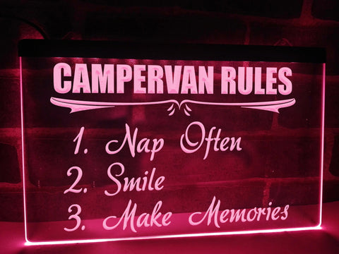 Image of Campervan Rules Illuminated Sign