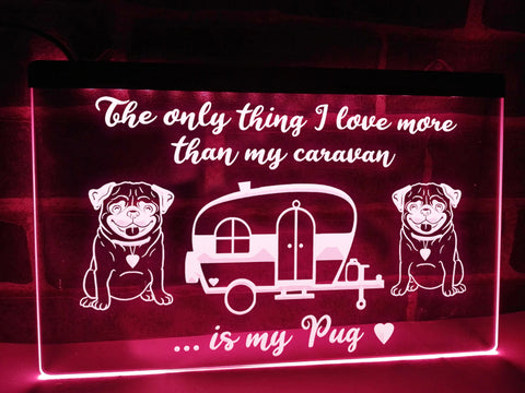 Image of Caravan and Pug Illuminated Sign