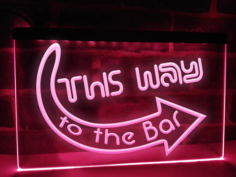 Image of This Way to the Bar Illuminated Sign