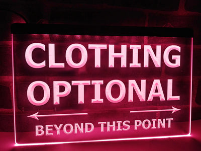 Clothing Optional Illuminated Sign