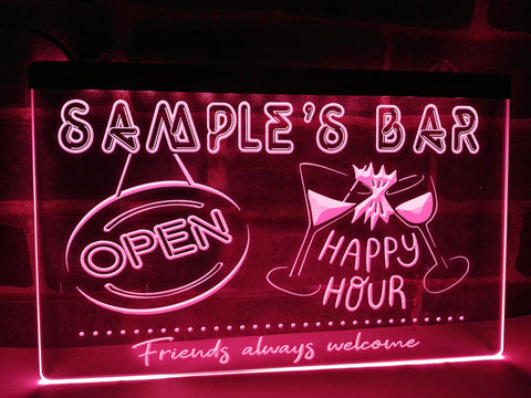 Happy Hour Bar Personalized Illuminated Sign