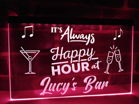 Image of Happy Hour Bar Sign Pink