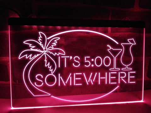 Image of It's 5 somewhere neon bar sign pink