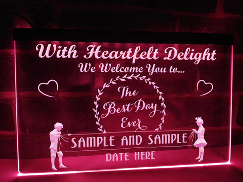 best day ever neon wedding sign pink
