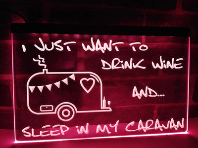 I Just Want to Drink Wine Illuminated Sign
