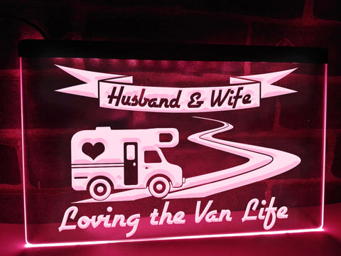 Image of Husband & Wife Loving the Van Life Illuminated Sign