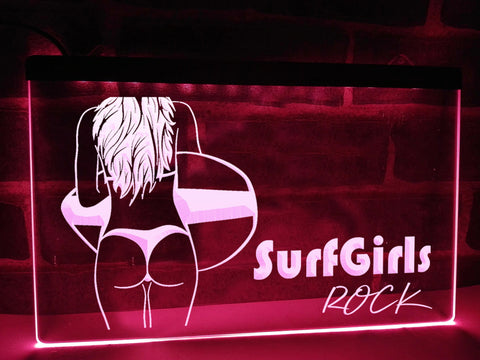 Surf Girls Rock Illuminated Sign