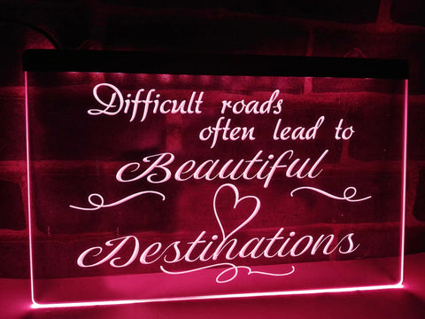 Difficult Roads Illuminated Sign
