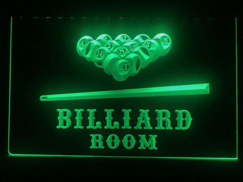 billiard pool room neon sign green