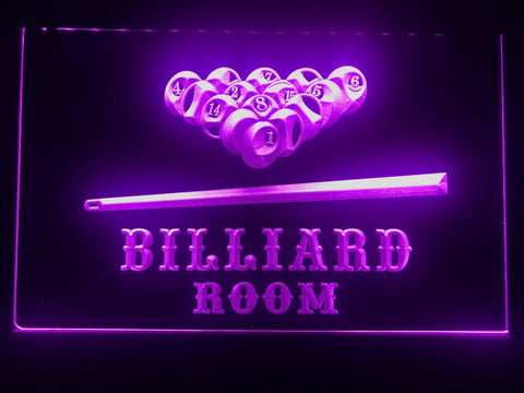 billiard pool room neon sign purple