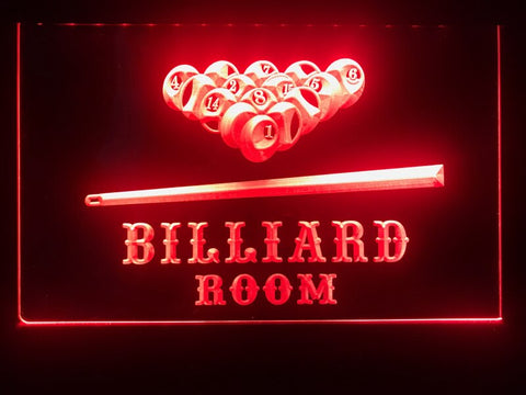 billiard pool room neon sign red