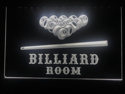 billiard pool room neon sign white