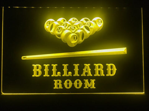billiard pool room neon sign yellow