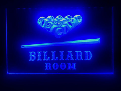 billiard pool room neon sign blue