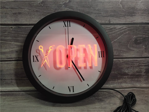 Image of Open Barber Shop Bluetooth Controlled Wall Clock