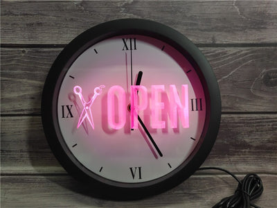 Open Barber Shop Bluetooth Controlled Wall Clock
