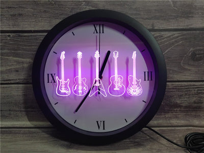 Guitar Line Up Bluetooth Controlled Wall Clock