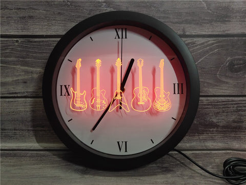 Image of Guitar Line Up Bluetooth Controlled Wall Clock
