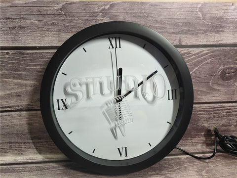 Studio Microphone Bluetooth Controlled Wall Clock