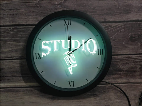 Image of Studio Microphone Bluetooth Controlled Wall Clock