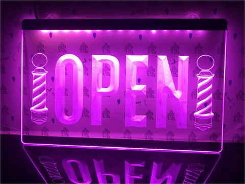 Image of Open Barber Poles Hair Illuminated Sign