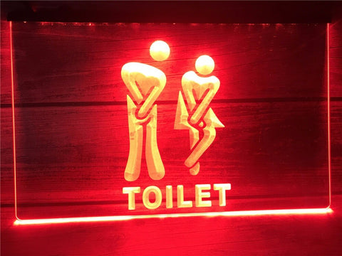 Image of Funny Toilet Entrance Illuminated Sign