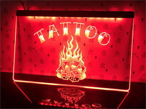 Image of Tattoo Poker Dice Illuminated Sign