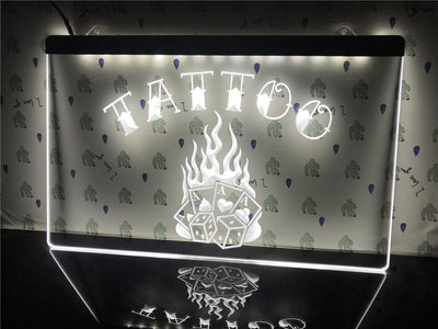 Tattoo Poker Dice Illuminated Sign