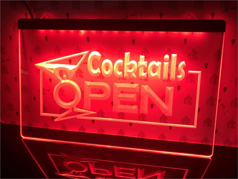 Cocktails Open Illuminated Sign