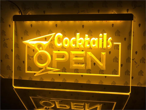 Image of Cocktails Open Illuminated Sign