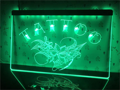 Tattoo Flowers Illuminated Sign