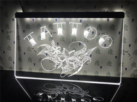 Image of Tattoo Flowers Illuminated Sign