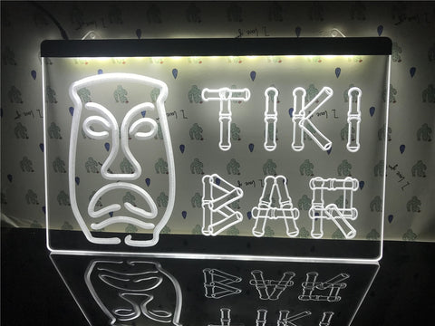 Image of Tiki Bar Bamboo Mask Illuminated Sign