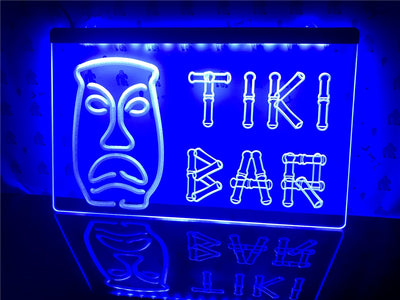 Tiki Bar Bamboo Mask Illuminated Sign
