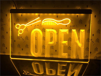 Open Hairdressers Illuminated Sign