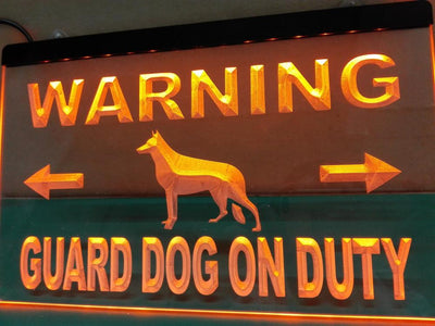 Warning Guard Dog on Duty Illuminated Sign