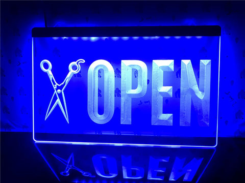 Open Barber Shop Illuminated Sign