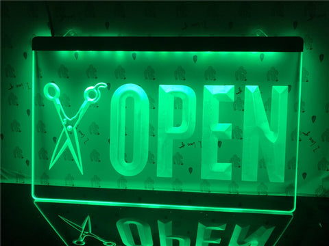 Image of Open Barber Shop Illuminated Sign