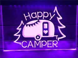 Happy camper Caravan trailer neon sign violet