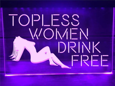 Topless Women Illuminated Sign