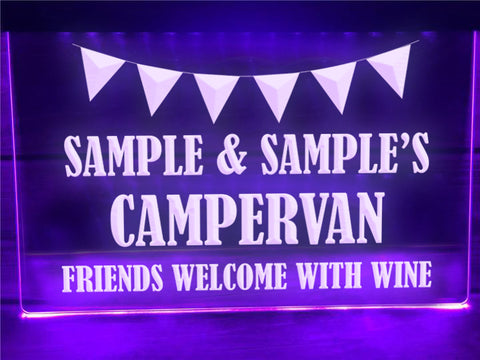 Image of Friends Welcome with Wine Personalized Illuminated Sign