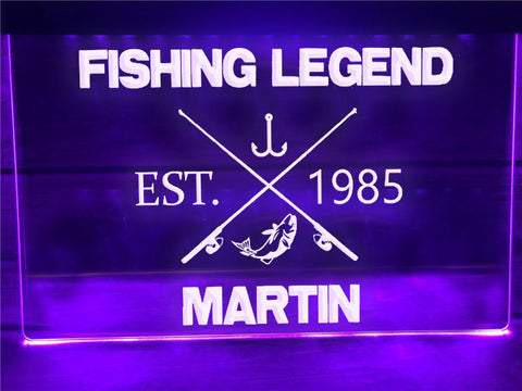 Fishing Legend Personalized Illuminated Sign