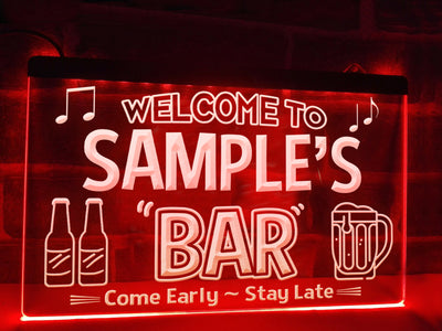Personalized Bar Sign Red