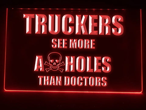 Image of Trucker Skull Illuminated Sign