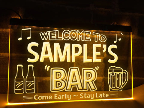 Image of Welcome to My Bar Personalized Illuminated Sign