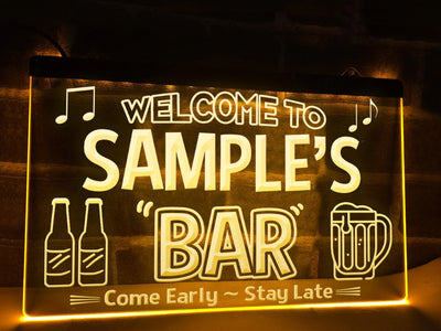 Personalized Neon Bar Sign Yellow