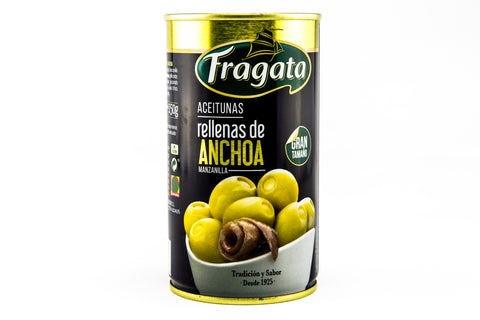 Green Manzanilla Olives with Anchovy Stuffing in Brine.