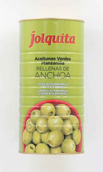 Green camomile olives stuffed with anchovy JOLQUITA 600g