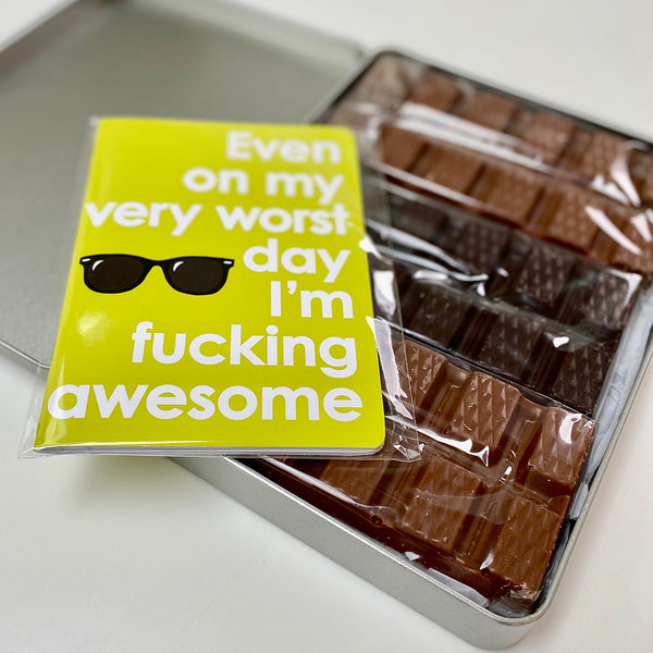 I'm Fucking Awesome! Artisan Chocolate and Notebook Gift Pack