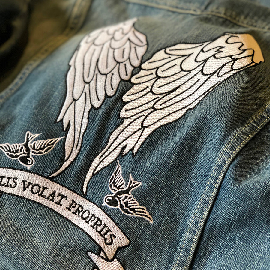 She Flies With Her Own Wings - Fully Embroidered Latin Motto - Vintage Levi's Denim Jacket